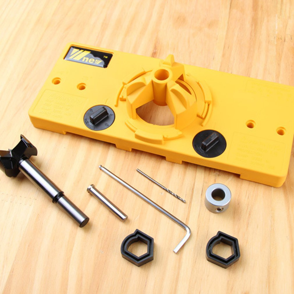 35MM Hinge Jig Drill Guide Set Wood Hole Saw Drill Locator Door Boring Hole Template Bit Woodworking Tools
