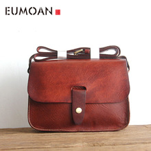 EUMOAN Retro clay bag head layer of tree cream leather cowhide handbags school the Department sh