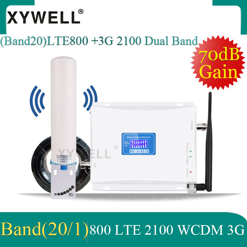 New!4G LTEBand20 800/2100 3G Cellular Signal Booster Dual-Band Mobile Cellular Signal Booster 3G WCDMA 2100 LTE 800 4G Amplifier