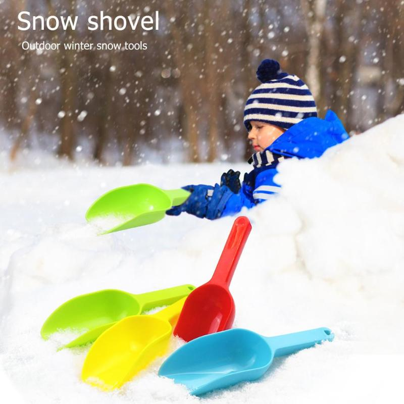 Kids Winter Outdoor Snow Shovel Plastic Sandbeach Scoop Toy Practical Children Snowball Fighting Tool Random Color