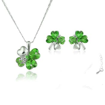 Exquisite Austrian fruit green crystal 925 sterling silver necklace earrings gift, pendant wedding jewelry set women's S0133 image