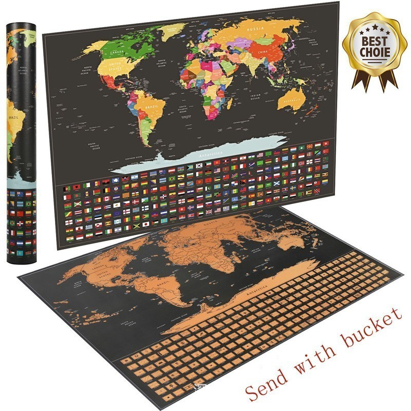 Deluxe Erase Black World Map Scratch Off World Travel Map Poster Copper Foil With Cylinder Packing School Stationery Gift