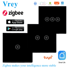 EU Standard Zigbee Touch Switch Smart Home Wall,WiFi Light Switch Control,Google home &Alexa control , Voice control
