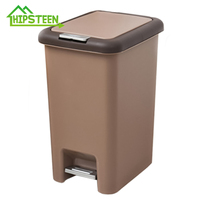 HIPSTEEN Trash Can 8L/10L Pressing Cover Kitchen Waste Bin Sitting Room Toilet Trash Office Paper Basket Household Foot Pedal