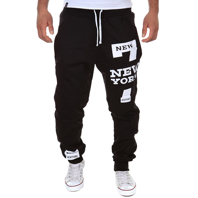 DIHOPE Mens Casual Pants Letter Print Sweatpants 2019 New Male Lace-up Loose Hip Trousers Joggers Track Cotton Pants Cool
