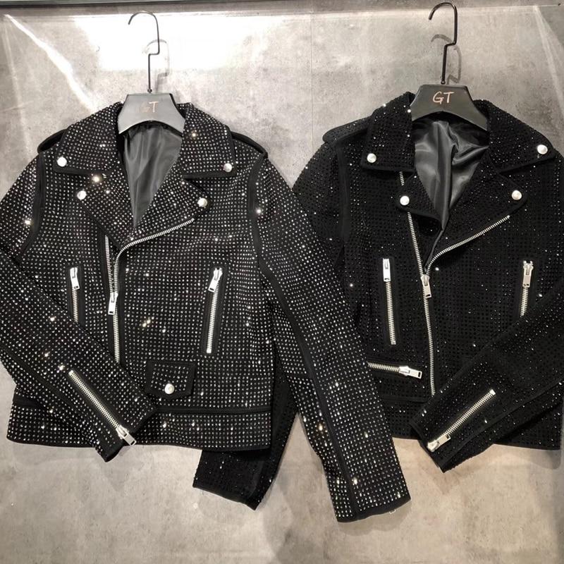 Woman Coats Natural 100% Sheepskin Genuine Leather Jackets 2020 Fashion Female Motorcycle Sheepskin Leather Brickwork Overcoat