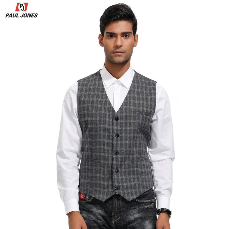 PAUL JONES Men Plaid Tweed Suit Vest V-Neck Slim Fit Wool Blend Waistcoat Single Breasted Handkerchief Hem Sleeveless Jacket Ves