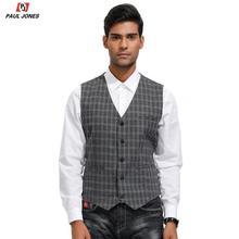 PAUL JONES Men Plaid Tweed Suit Vest V-Neck Slim Fit Wool Blend Waistcoat Single