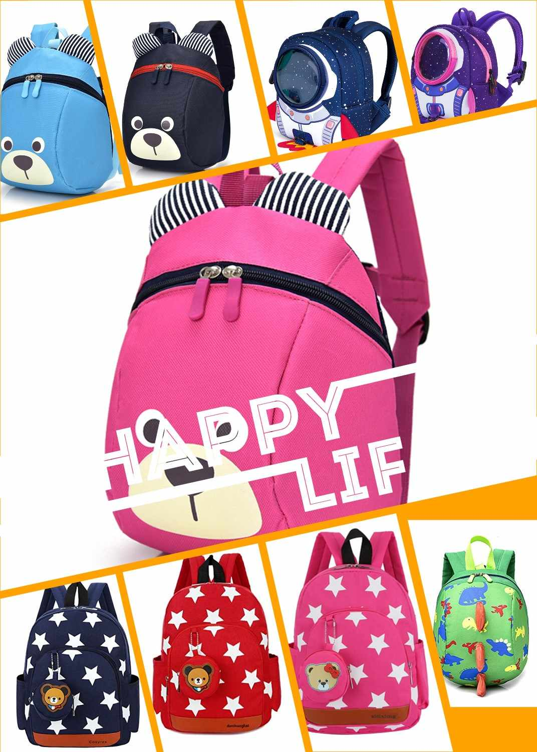 Boys Backpacks for Kindergarten Stars Printing Nylon Children Backpacks Waterproof  Kids Kindergarten School Bags for Baby Girls