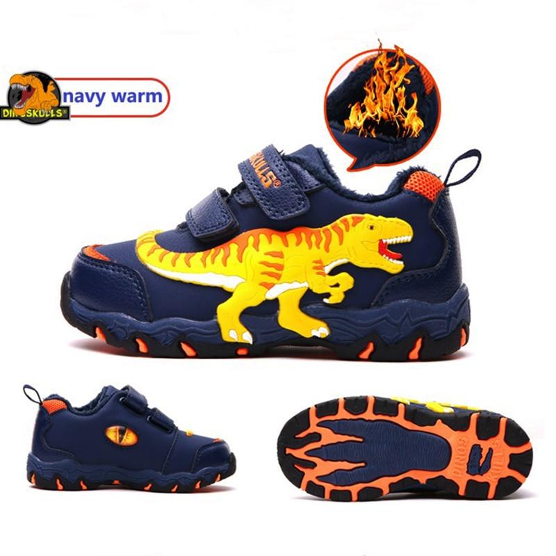 DINOSKULLS Boys Winter Shoes Rubber 4 Kids Dinosaur Sneakers Warm Velvet Lining Leather Fashion T-rex Children Outdoor Shoes Boy
