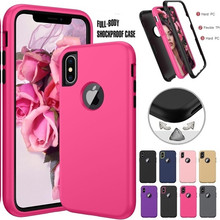 3 in 1 Heavy Duty Armor Shockproof 360 full Protect Case For iPhone X XS MAX XR 8 7 6 6S Plus Hybrid TPU Silicone+ Rubber Case shockproof heavy duty case for ipad pro 7 9 12 9 protect skin rubber hybrid stand case for ipadpro durable 2 in 1 case alabasta