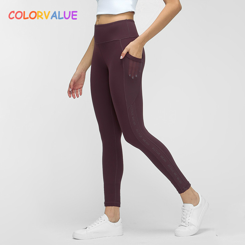 Colorvalue Naked-feel Fabric Yoga Pants Sport Tights Women High Waisted Squatproof Fitness Gym Leggings Activewear With Pocket