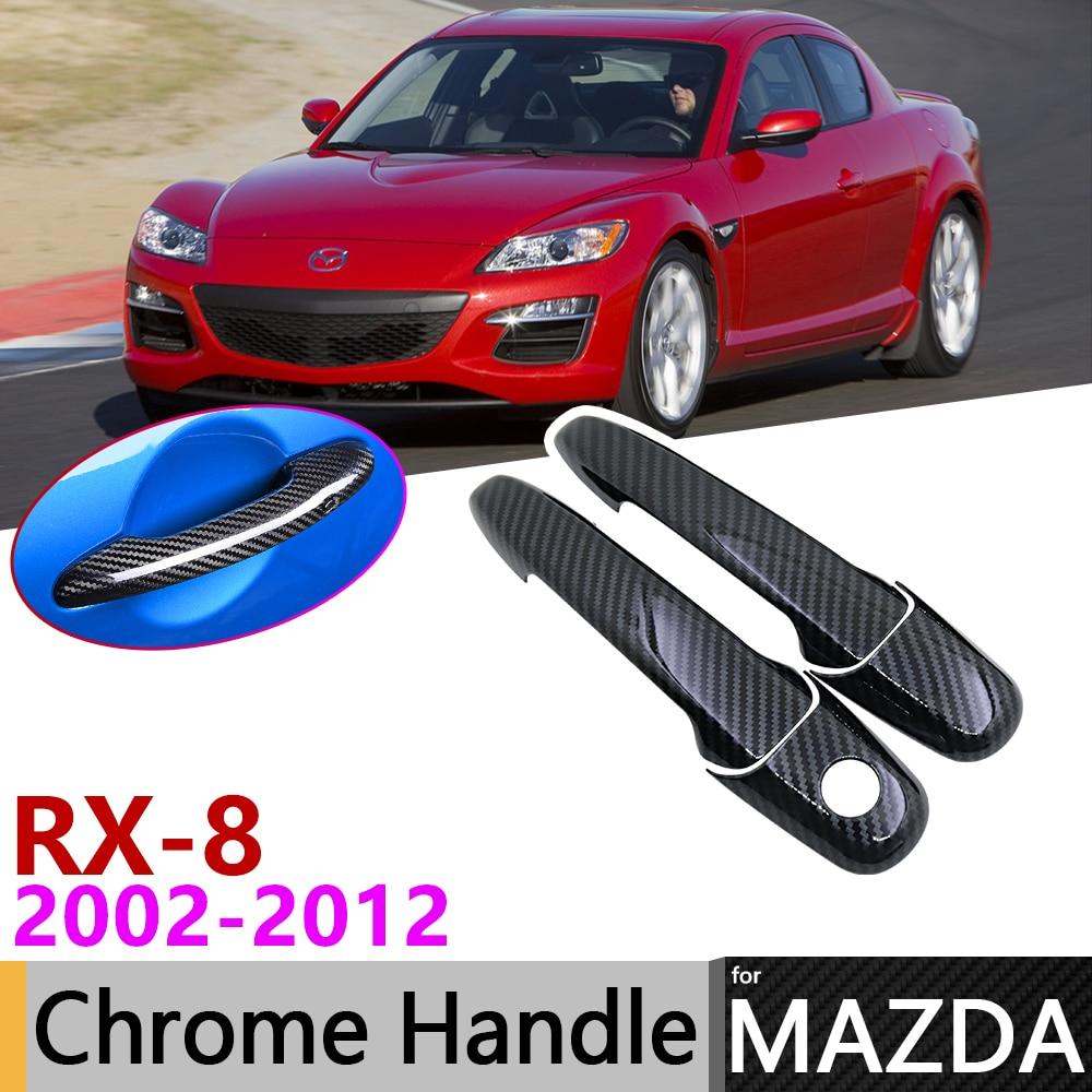 Black Carbon Fiber Door Handle Cover For Mazda RX-8 RX8 RX 8 2002~2012 2009 2010 2011 Car Accessories Stickers Trim Set Chrome