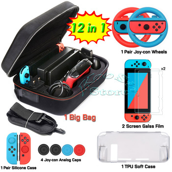 Nintend Switch Carrying Storage Bag + TPU Case + Tempered Glass Film + Joycon Grips Wheels + Silicone Case for Nintendo Switch 1