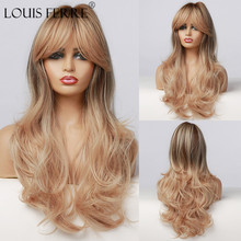 LOUIS FERRE Long Wavy Blonde Ombre Wig for Women Dark Root Golden Brown Synthetic Wig with Bangs Daily Party Heat Resistant Hair