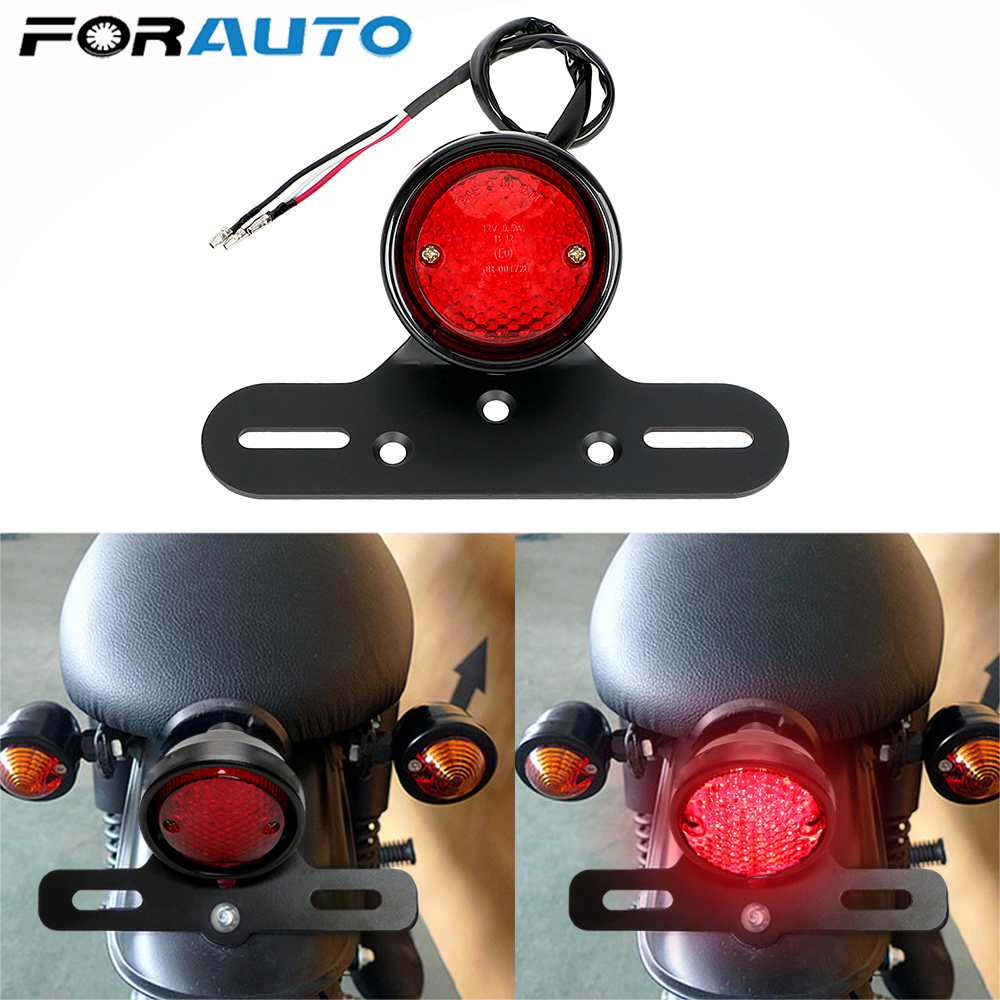 FORAUTO DC 12V LED Moto Rear Lights Motorcycle Tail Brake Stop Light Racer For Chopper Bobber Motorbike Accessories