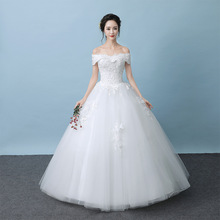 رخيصة Vestido Noiva لونغو عالية الجودة فساتين زفاف دانتيل قبالة الكتف قارب العنق الطابق طول فستان زفاف الأسهم