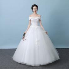 저렴한 vestido noiva longo 고품질 웨딩 드레스 레이스 어깨 보트 neckline 바닥 길이 신부 가운 주식