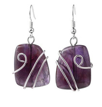FYJS Unique Silver Plated Wire Wrap Irregular Shape Trapezoid Natural Purple Amethysts Earrings Stone Jewelry