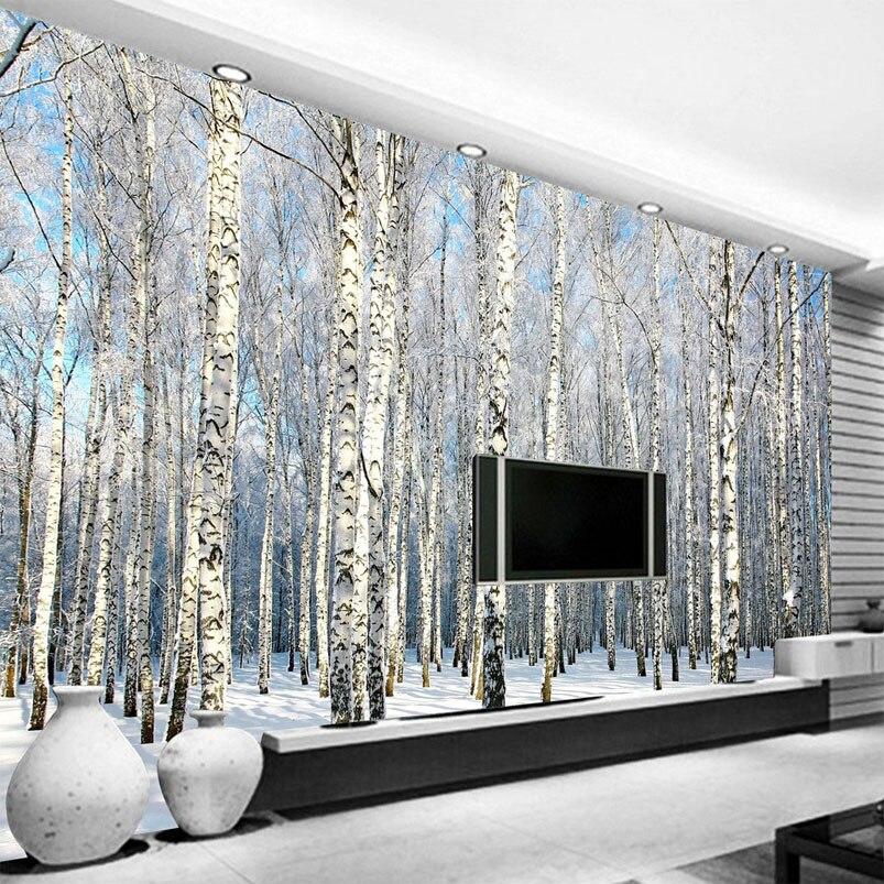 Пользовательские 3D фото обои березовый лес Снежный пейзаж гостиная спальня ТВ фон Настенная Обои 3D