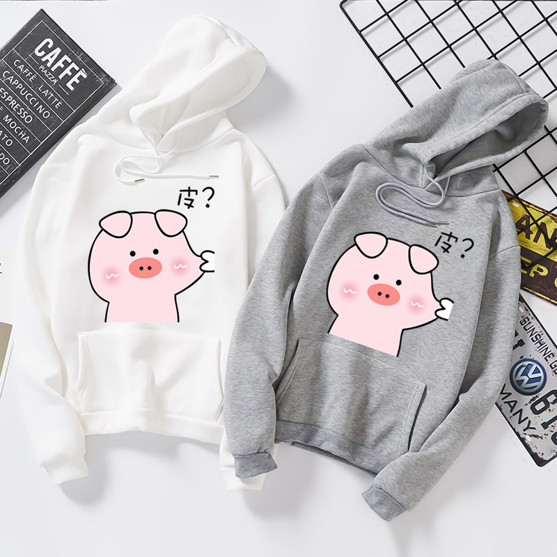 winter new funny Cute pig print Unisex hoodie Harajuku fashion japanese streetwear Oversized Brief All-match hip hop sweatshirt