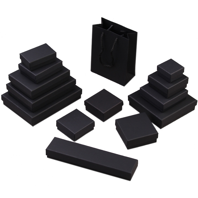 2019 NEW  1pcs  Jewelry Package Box ,Big Different Size Black Kraft Paper Box For Earring/ring /bracelet Jewelry Bag/ Box A58