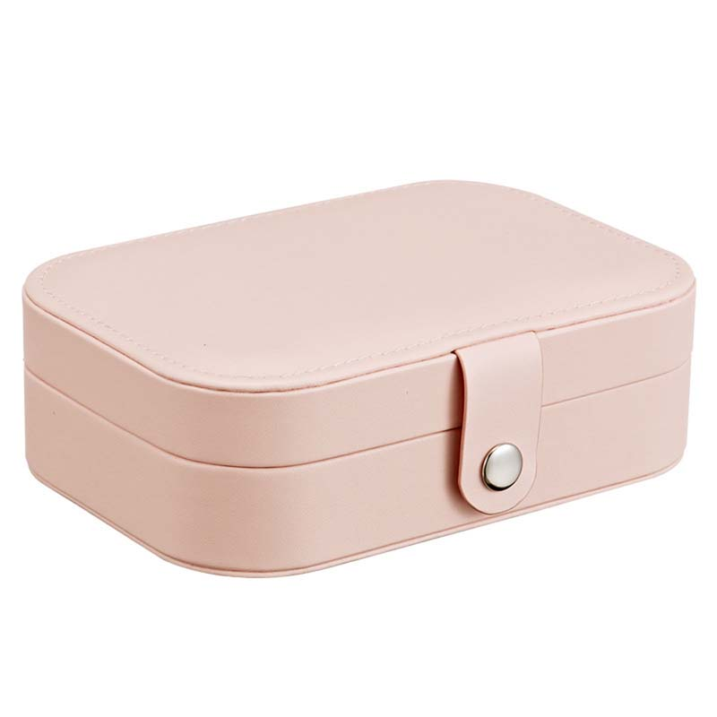 Jewelry Box Flannel Leather Button Multiple Function Square Case Rings Necklace Stud Jewelry Storage Portable Simple Box