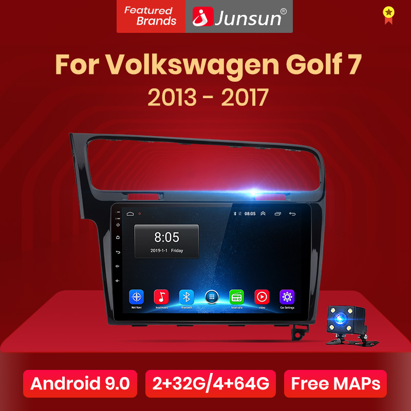 "Junsun 2G + 32G Android 9,0 4G coche Radio reproductor Multimedia para Volkswagen Golf 7 2013-2017 GPS de navegación 10,1 ""Auto 2 din no dvd"
