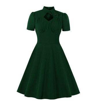 Vestido de Navidad verde oscuro de cintura alta elegante Vintage cuello redondo con recorte vestido sólido 1940s