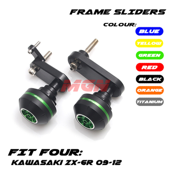 CNC Frame Sliders Crash Pad Cover Falling Protector Guard For ZX636 ZX6R ZX-6R 09 10 11 12 2009 2010 2011 2012 Motorcycle