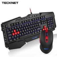 TeckNet Gaming teclado y ratón luminoso LED Teclado retroiluminado USB Cable PC Gamer Kit Reino Unido diseño juegos teclados para Windows