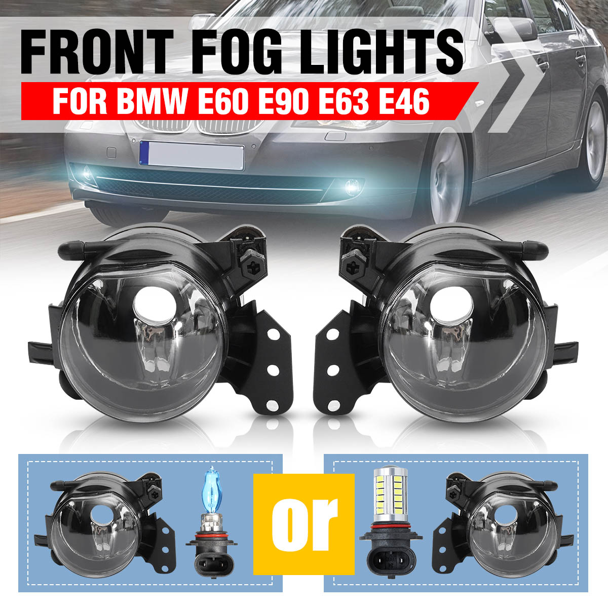 1Pair Fog <font><b>Light</b></font> Assembly Car <font><b>Front</b></font> Fog <font><b>Lights</b></font> Lamps Housing Lens Clear No Bulbs For <font><b>BMW</b></font> E60 <font><b>E90</b></font> E63 E46 323i 325i 525i image