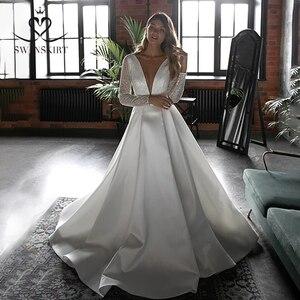 Image 3 - Prachtige Satijn Trouwjurk Swanskirt HZ32 Eenvoudige V hals Lange Mouw A lijn Prinses Bruidsjurk Aangepaste Vestido De Novia