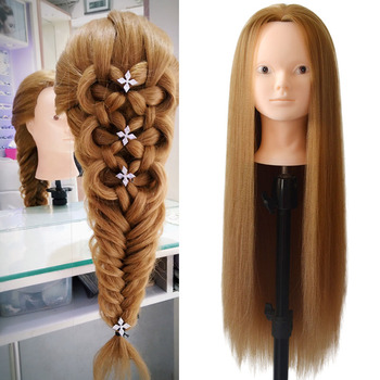 New training head with blonde hair Doll Head professional hairdressing mannequin without makeup face gold manican