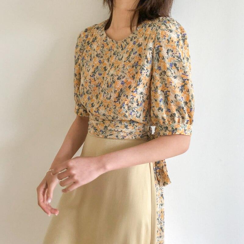 Soft Floral Open Back Bow Waist Puff Sleeve Short Sleeve Shirt Top Female