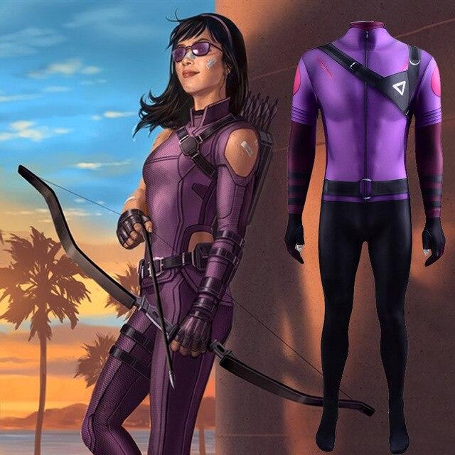 Movie Hawkeye 2 Cosplay Costume Superhero Kate Bishop Cosplay Halloween Costume 3D Print Spandex Bodysuit Disfraces