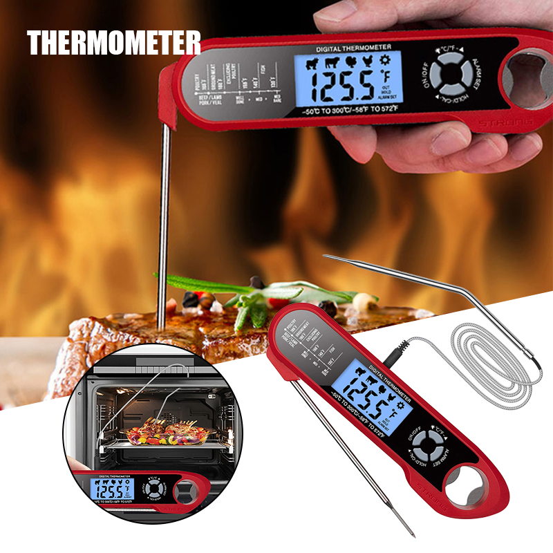Instant Read Meat Thermometer with 2 Probes & Backlight & Bottle Opener Waterproof Magnetic Foldable Food Thermometer SCVD889