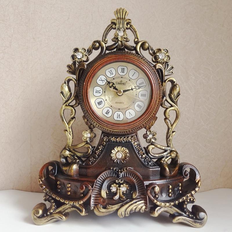 Hot Luxury European Table Clock Home Decoration Resin Desk Clock Bedroom Office Desktop Clock Desk Royalty Home Watch Table
