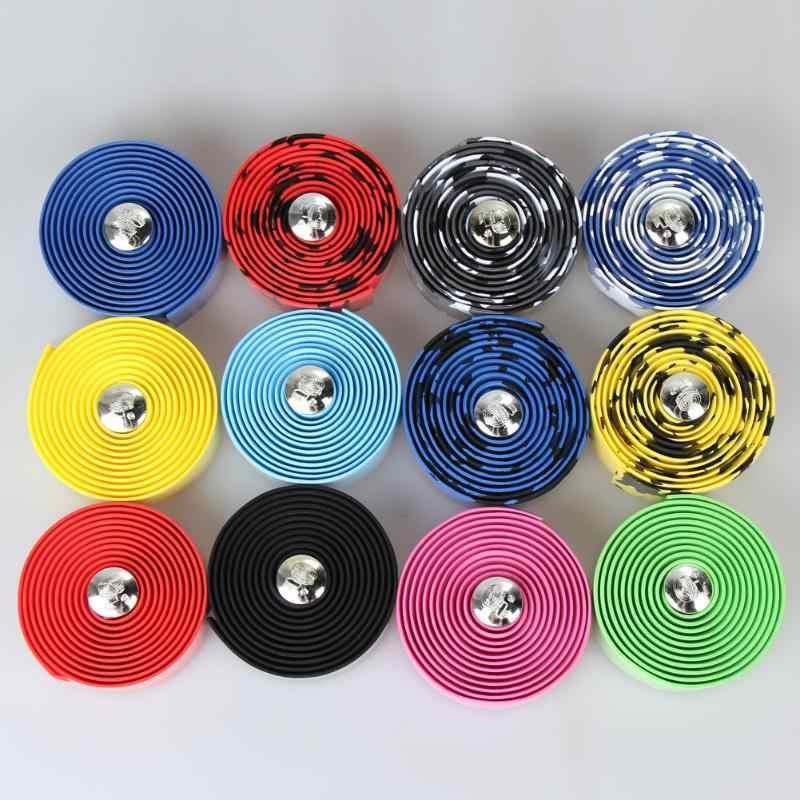 8 couleurs haute densité 2 pièces vélo guidon bande Camouflage cyclisme poignée ceinture liège Wrap avec bouchons de barre accessoires de vélo