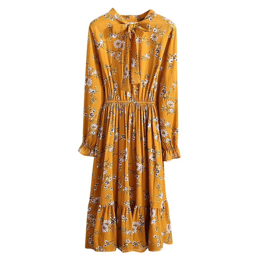Women Dress Lady's Casual Flower Printed Mini Boho Floral Dress Long Sleeve Elastic Waist Bandage Dress Mujer Invierno 2020