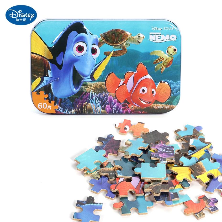 Disney 60 Piece Princess Frozen Wooden Box Puzzle Early Education Children Bottom Box Puzzle Birthday Toys Intelligence Puzzle 22