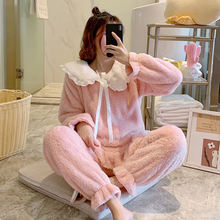 Женская зимняя плотная фланелевая теплая Пижама комплект из