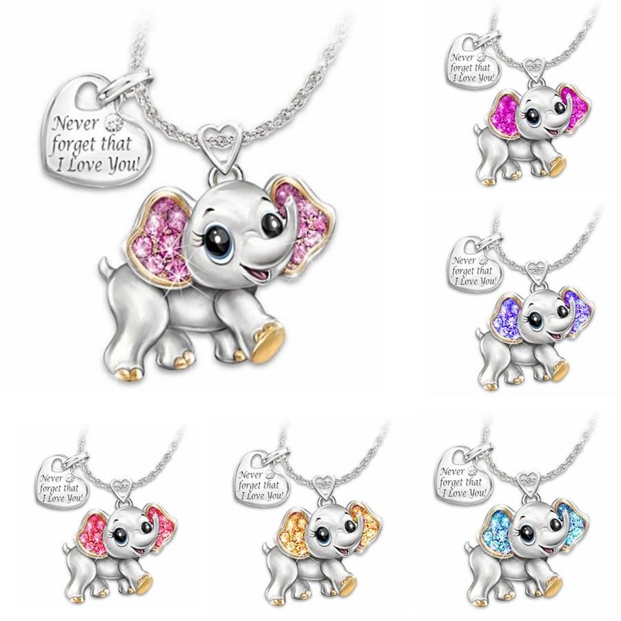 2020 новое женское ожерелье розовый синий милый слон ожерелье модное мультяшное животное ожерелья для Детские ожерелья ювелирные изделия подарки