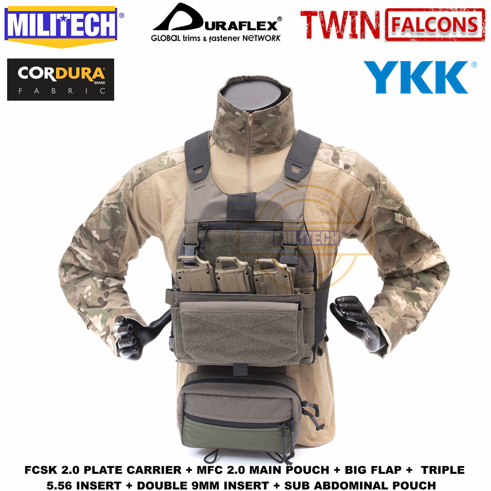 MILITECH TW FCSK 2.0 Advanced Slickster Ferro Plate Carrier With MFC 2.0 Pouch And Sub Abdominal Pouch Loadout Set Deal