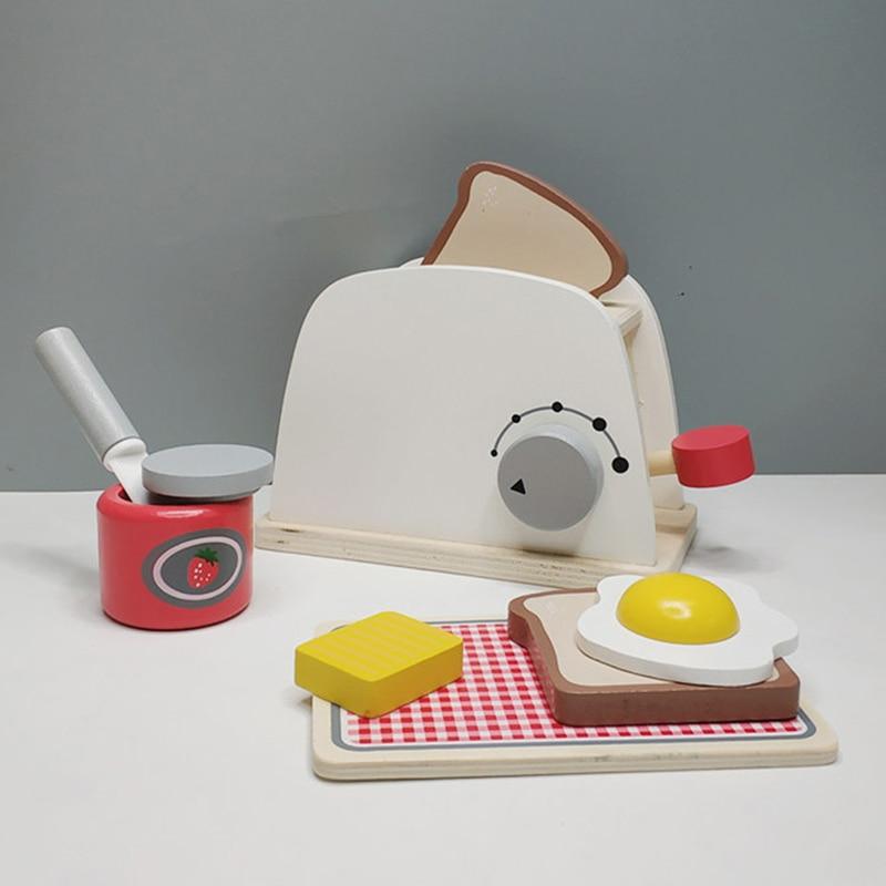 Crianças de madeira fingir jogar conjuntos simulação torradeiras fabricante de pão máquina de café liquidificador kit cozimento jogo mixer cozinha brinquedo papel