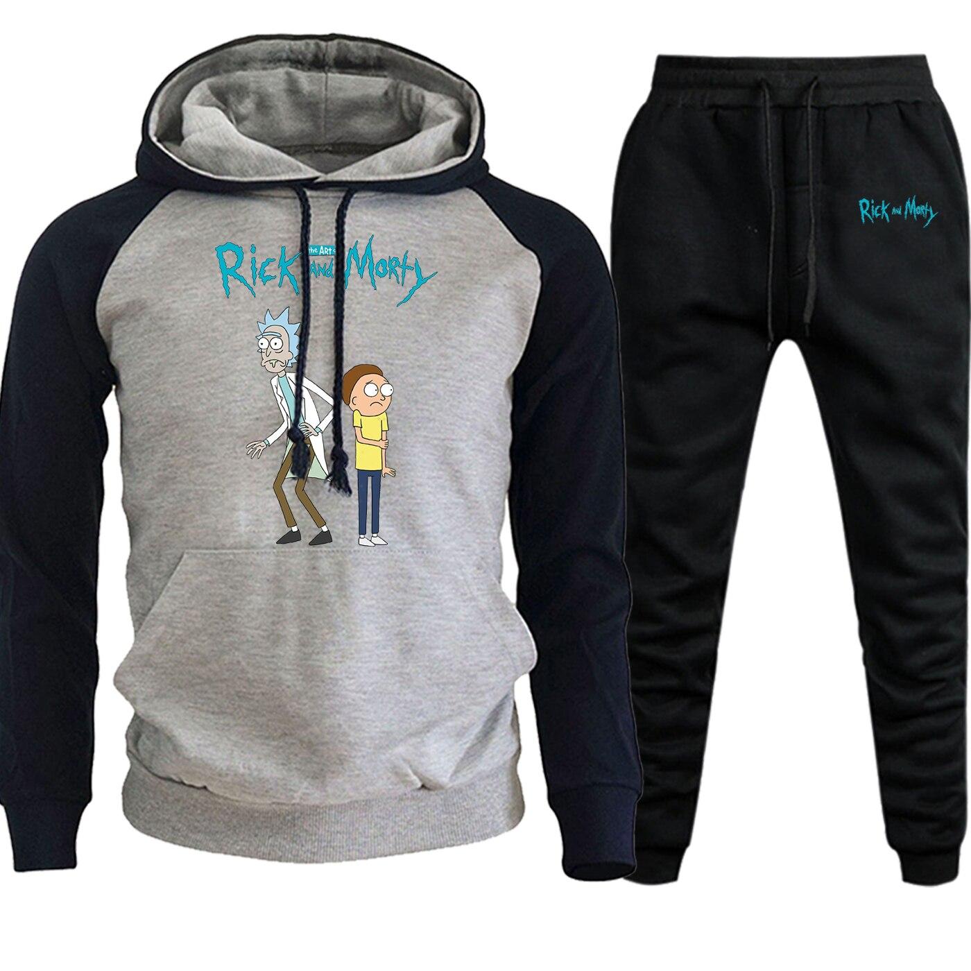 Rick And Thick Sweatshirts New 2019 Autumn Winter Hooded Raglan+Pants Sets Mens Cartoon Print Hoodies Hip Hop Suit Male Pullover
