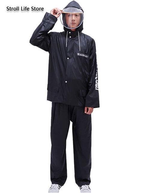 Clear Raincoat Men Thickened Riding Waterproof Set Plastic Suit Rain Partner Motorcycle Rain Suit Vinyl Jacket Impermeable Gift