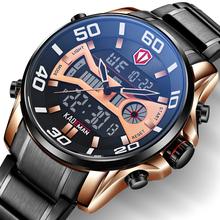 KADEMAN 2020 moda Sport Watch mężczyźni kwarcowe cyfrowe męskie zegarki Top marka luksusowe wodoodporna armia wojskowy pełny stalowy zegarek tanie tanio Składane zapięcie z bezpieczeństwem 3Bar QUARTZ Podwójny Wyświetlacz STAINLESS STEEL 26cm Hardlex 16mm 23mm ROUND Kwarcowe Zegarki Na Rękę