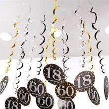 6 pçs 18/21/30/40/50/60/70 ano chá de fraldas feliz aniversário decoração da festa espiral ornamento adulto diy decoração de festa guirlanda