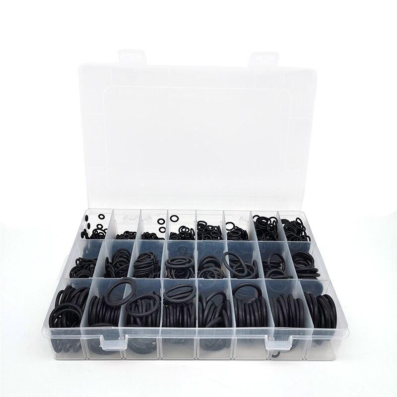 Комплект черных уплотнительных колец 1200 шт 24 размера толщина